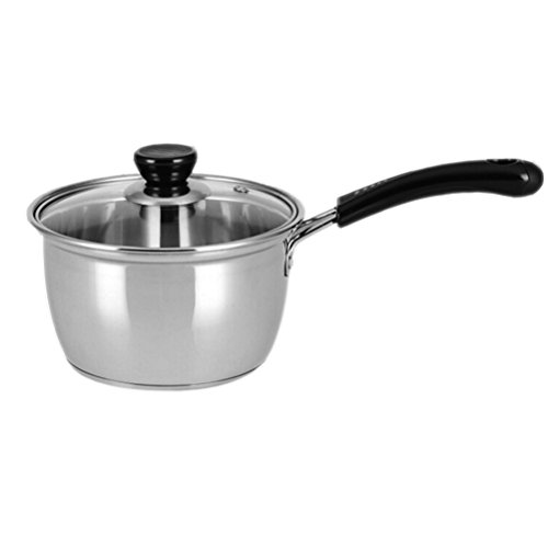 SaucepanSauce PotNonstick Dishwasher Safe Soup PotStainless Steel Covered Straining Pot with Glass Lid Cookware2 Quart by Meleg Otthon