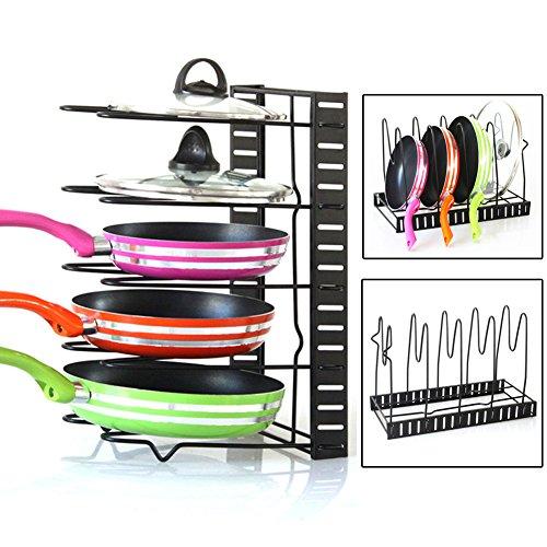 Pan Organizer Rack  Nattork Adjustable and Foldable Cookware Rack with 5 Shelves for PansPantry Pan and Pot LidBlack