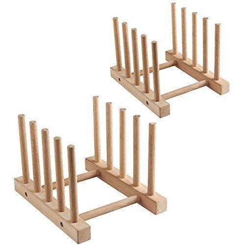 Phantomx Set of 2 Modern Homes Multi-purpose Wooden Plate Pot Lid Organizer Rack New