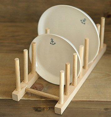 Prettysell Modern Homes Multi-purpose Wooden Plate Pot Lid Organizer Rack L