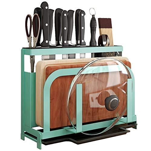 MiniInTheBox Pot Lid Rack Holder Multi-fonction Kitchen Tool Storage Rack Can Organize Chopping Board KnifeChopsticks Spoon Sea Green