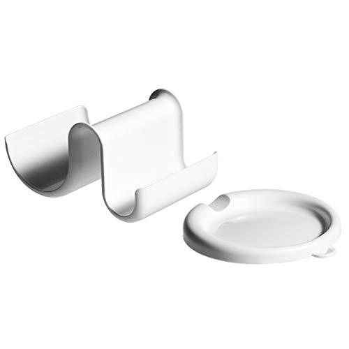 UPKOCH Kitchen Spoon Rest and Pot Lid Storage Rack Set Spoon Holder Tray Kitchen Storage For Home White
