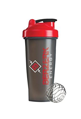 Berzerk Energy Blender Bottle Classic Top Shaker Bottle Black Red 28 Ounce