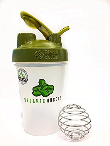 Organic Muscle Blender Bottle - Classic Loop - Shaker Bottle Green Lid - 20oz
