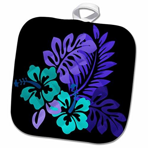 3D Rose Hawaiian Turquoise N Purple Floral on Black Pot Holder 8 x 8