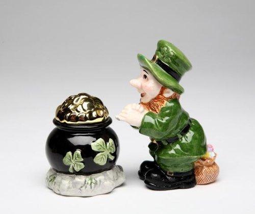 Green Leprechaun and Black Pot of Gold Tone Salt and Pepper
