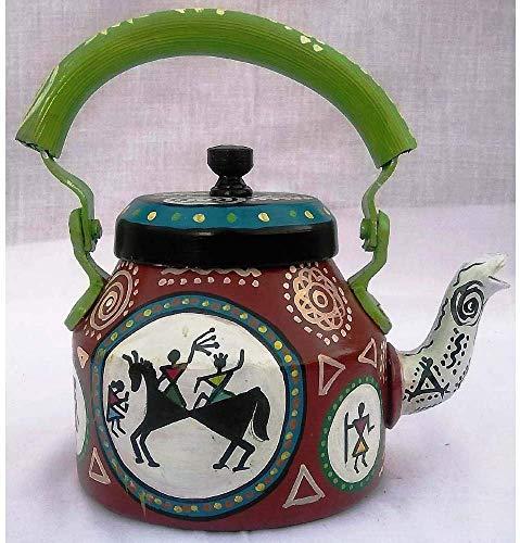 Handpainted Traditional Aluminium Decorative Multicolor Handpainted Tea Kettle from Prastara Handicrafts Unique Tea Pot Meenakari Jaipuri Artician Painting Elegent Design 1 Litre 22 cm
