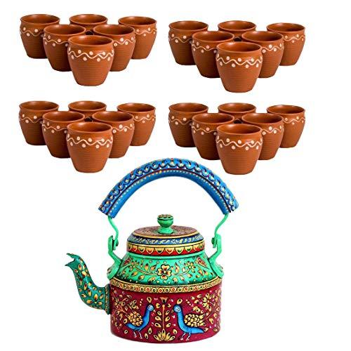 Odishabazaar Combo 24 Pcs Designer TeacupsIndian KulharFree 1Ltr Hand Painted Tea KettlePot ktc-2