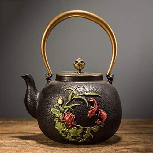 Tea Pot Cast Iron Painted Tea Kettle Small Heat Resistant Vintage Tea Infuser for Home Restaurant Office Party 1400 ml Color  A