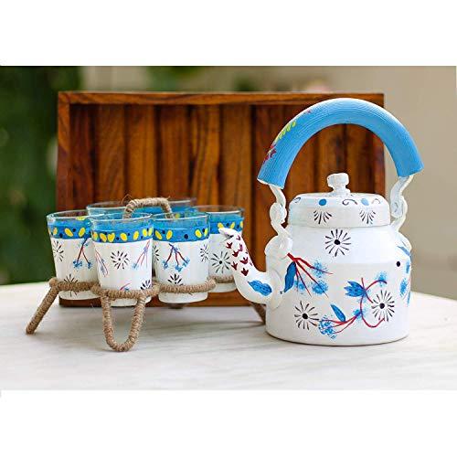 iHandikart Handicrafts Traditional MeenakariJaipuriArtician Handpainted Figurine Aluminium Decorative Tea KettlePot 6 Galss and StandWooden Tray Set