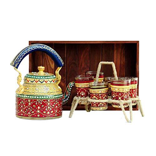 iHandikart Handicratfs Handpainted Multicolor Decorative Tea Kettle 6 Glasses Wooden Tray Set for Table Decor Office and Home Decor IHK5078-S