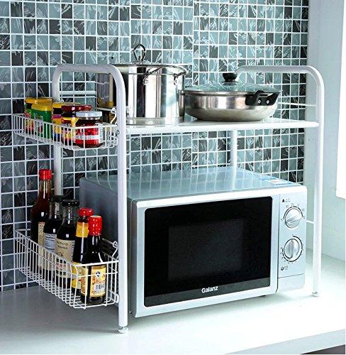 BGmdjcf Kitchen Racks Microwave Oven Racks  Kitchen Supplies Two Floors With Basket