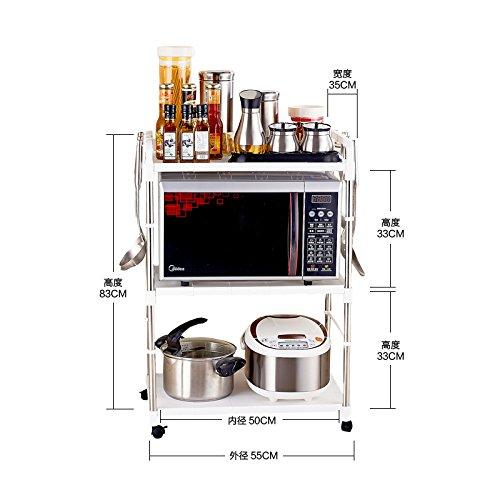 BGmdjcf Stainless Steel Microwave Oven Kitchen Double Plastic Bracket Kitchen Oven Kitchen Racks Admit 50Cm Rack 3 Layer With Wheel