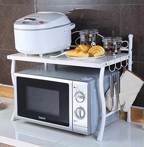 BGmdjcf White Single Layer Microwave Oven Kitchen Racks Kitchen Admit Rack Metal Storage Tiers Seasoning Rack  White