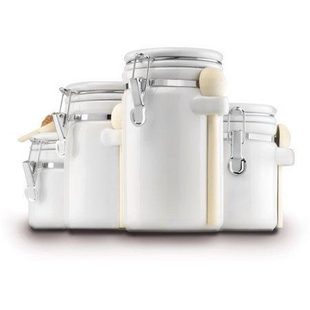 4-Piece Ceramic Canister Set White by Anchor Hocking  03806COM made of Glass