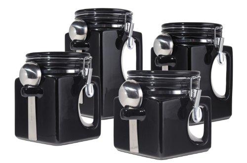 Oggi EZ Grip Handle Ceramic 4 Piece Canister Set Black