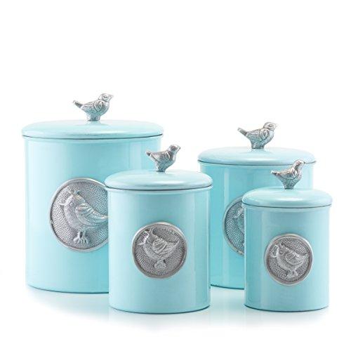 Old Dutch 4 Piece Lauren Bird Canister Set Blue