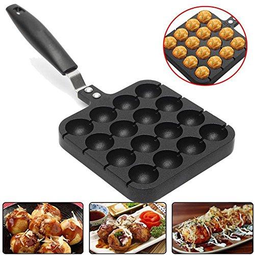 16 Holes Takoyaki Pan Home Kitchen 16-cavity Baking Mold Octopus Ball Maker Grill Plate Black