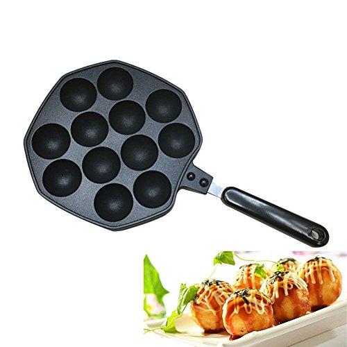 Takoyaki Pan Keeper Nonstick Cast Aluminum Alloy Baking Tray Takoyaki Maker 12 Holes