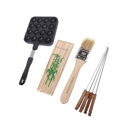 WINOMO Takoyaki Pan  Brush  4pcs Steel Needles  100pcs Bamboo Sticks Set