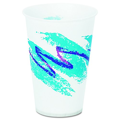 SOLO Cup Company R7NJ Jazz Waxed Paper Cold Cups 7oz Tide Design 100 per Pack Case of 20 Packs