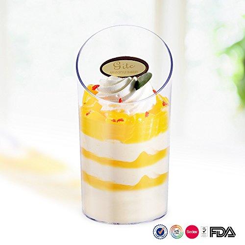 KIW 24 Pcsset Elegant Clear Slanted Cylinder Mini Dessert Appetizer Cup 25oz Plastic Tasting  Sample Shot Glasses Parfait Glass  Souffle Jello Tumbler Cups