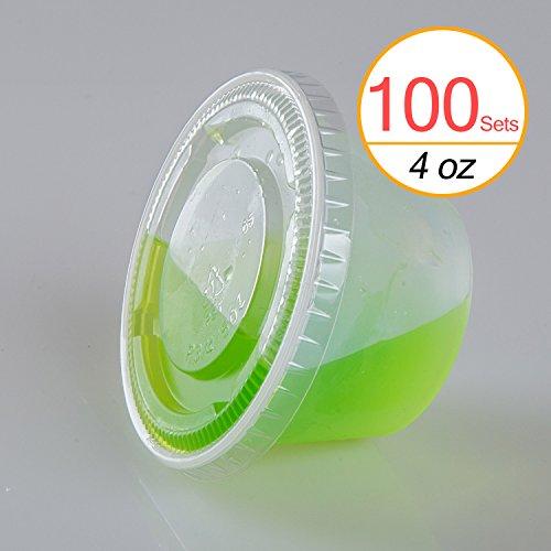 TashiBox 4 oz Plastic Cups  Disposable Portion Cups  Souffle Cups with Lids 100 Sets