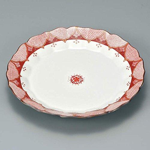 Japanese Ceramic Porcelain kutani ware Serving dish Salada plate Red painting Japanese ceramic Hagiyakiya 216