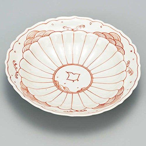 Japanese Ceramic Porcelain kutani ware Serving dish Salada plate Red painting bird and flower Japanese ceramic Hagiyakiya 234