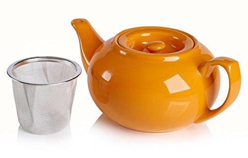 Adagio Teas PersonaliTea Ceramic Teapot with Infuser Basket 24-Ounce Orange