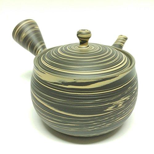 Japanese Teapot Kyusu  tokoname Kiln  pottery studio Tosen  Ita-ami khaki yellow