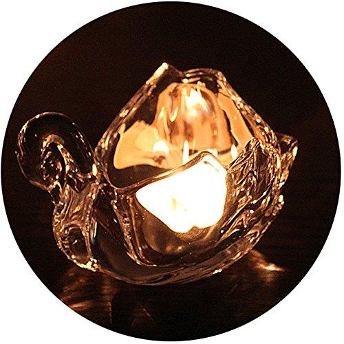 AMEA Transparent Crystal Glass Candlestick Little Swan Candlestick Wedding Decoration Set of 2pcs