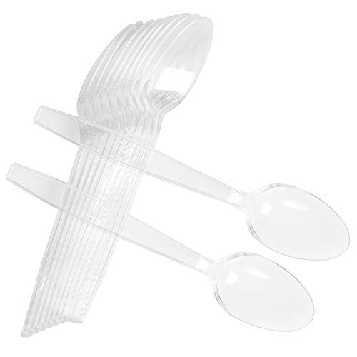 50 Count Heavy Disposable Plastic Spoons Bulk Heavyweight Clear Teaspoons