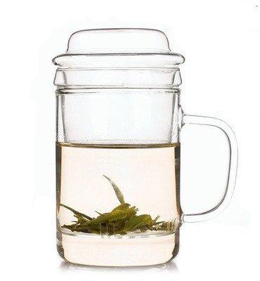 450ml Office gentleman TeaCoffee Cup New Fashion Heat-resistant Glass Tea Strainer with Lid-Iris&Sandy