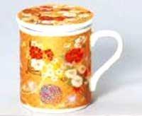 Gold Glaze Gold Peony 85 cm With Tea Strainer Lid Mug Porcelain Ware