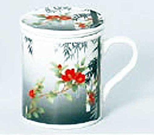 Sumi Drawing Bamboo peony 85 cm With Tea Strainer Lid Mug Porcelain Ware