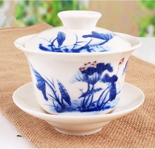 Chinese Blue and White Porcelain Ceramic Tea Mug Gaiwan Tea Set Coffee Mug Set 180ml Lotus