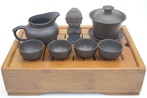 Chinese Glass Kungfu Gaiwan Tea Setcomprised of 3-piece Gaiwana Chahai a Tea Tray a Zisha Tea Pet and 4 Tea Cups TS13
