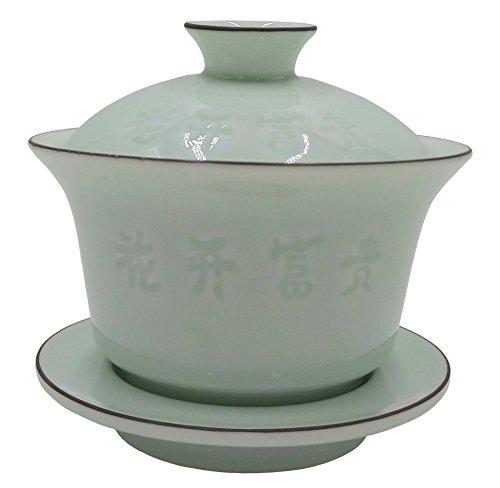 Teagas China Traditional Celadon Gaiwan TeacupChinese tea cupGaiwan Gongfu Tea Cup Decorative Auspicious Pattern180ml