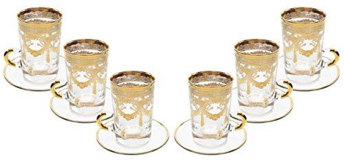 Italian Collection Set of 6 Crystal 6 Oz Turkish Tea Glasses 24K Gold Rim Vintage Luxury Pattern