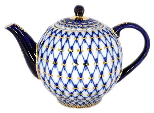 Lomonosov Porcelain Tulip Cobalt Net 3 Cups Teapot 20 oz600 ml