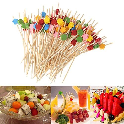 100 pcs Plum Blossom Food Picks Dessert Buffet Fruit Salad Fork Bamboo Cocktail Picks Food Sticks Disposable Toothpicks