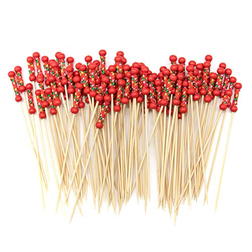 AUEAR 100 Pack Cocktail Picks Handmade Bamboo Toothpicks 47Red Beads with Rope Cocktail Sticks Bar Party Supplies