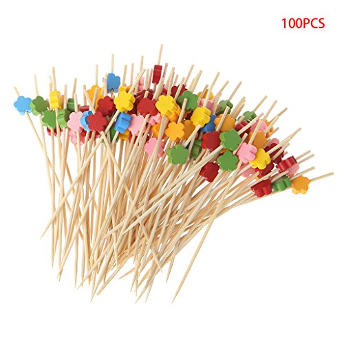 Disposable Fruit Picks 100pcs Plum Blossom Bamboo Cocktail Picks Food Sticks Disposable Toothpicks - Rbxibibx
