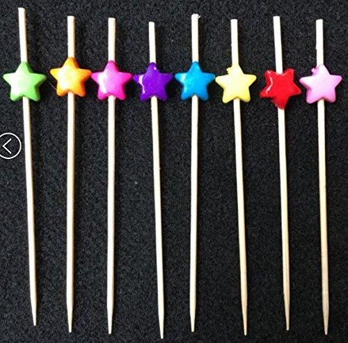 PuTwo Cocktail Picks Bamboo Handmade Appetizer Toothpicks Sticks 47 100ct Assorted Color Stars