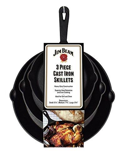 Jim Beam JB0195 Su Set of 3 Pre-Seasoned Cast Iron Skillet Set  Heavy-Duty Construction for Superior Heat Retention Even Cooking6 147 349 34  Black