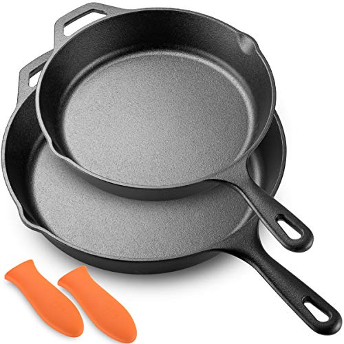 Legend Cast Iron Skillet Set  Large 10 12 Frying Pans with Silicone Hot Sleeves for Oven Induction Cooking Pizza Sauteing Grilling  Lightly Pre-Seasoned Cookware Gets Better with Use
