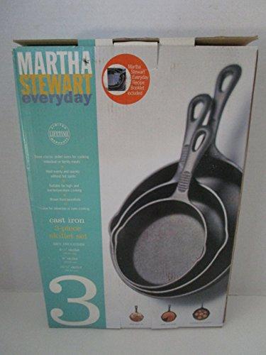 Martha Stewart Collection 3 Piece Cast Iron Skillet Set Size 6 12 8 10 12
