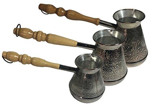 Set of Three Turkish Copper Coffee Pots Turkish Greek Arabic Coffee Cezve Ibrik Briki Turka with Wooden Handle Authentic Copper Jezve 3-Piece