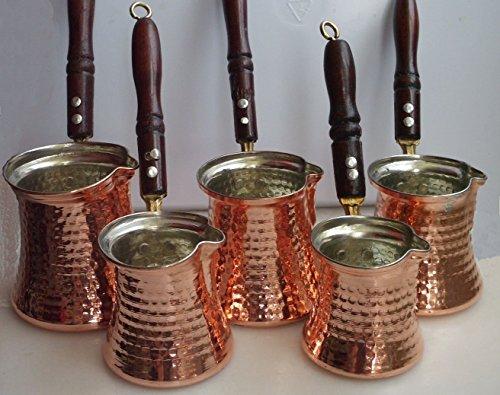 Turkish Coffee Pot Cezve Jazva Jazwa Ibrik Briki 100 Copper  5 sizes available  L - 4 cups
